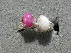 2 7X5 MM LINDE LINDY WHITE / PINK STAR SAPPHIRE CREATED RUBY SECOND RING .925 SS
