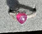 8X8MM HEART LINDE LINDY RED STAR RUBY CREATED SAPPHIRE  2ND RD PLT .925 SS RING