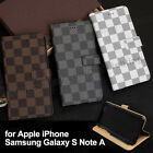 New Luxury Grid Magnet Card Flip PU Leather Wallet Stand Cell Phone Case Cover