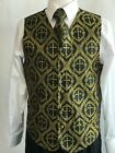 New Daniel Ellissa Black/Gold Mens Clergy Christian Pastor Vest.VS810