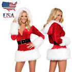 US Stock Santa Claus Cosplay Christmas Dress Hooded Costume Xmas Party Outfit