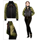 Brave Soul Miami Womens Floral Embroidery Satin MA1 Vintage Zip Up Bomber Jacket