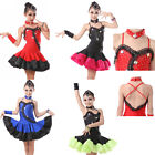 New Girls Kids Diamonds Black Red Blue Latin Performance Dancewear Dance Dress