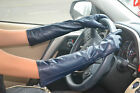 lady's new fashion elbow top goat leather evening leather gloves dark blue