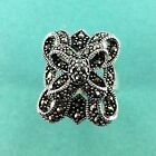 Marcasite Oxidized Sterling Silver Ring -  Sizes 7-9 -  .925 Pure Silver