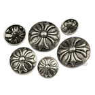 12 PCS Vintage Silver Shank Button Metal Sewing Embellishment 15 18 20 23 25mm