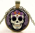Fashion color tattoo candy skulls glass pendant necklace sweater chain