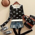 Women Sexy Eyes Printed Tops Long Sleeve Crew Neck New Short Sweats Tops Outwear