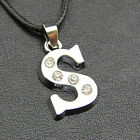 Silver Plated Rhinestone Alphabet 26 Letters Name Initial Charm Pendant PR