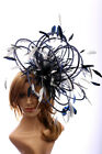 Navy Blue & Silver Fascinate Fascinator Hat/ any satin/highlight feather colour