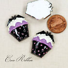 27x20mm Halloween Black Cupcake with Bat Resin Cameo Cabochon - 12~24pc