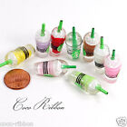 32mm 12 pc 3D Miniature Doll House Coffee Drink Cup Logo Sticks Resin Cabochon