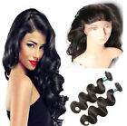 360 Lace Frontal Closure Virgin Human Hair Body Wave Pre Plucked With 2 Bundles