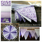 3m - 12m JILPI 'PRETTY PURPLE' FLORAL GINGHAM FABRIC BUNTING, VINTAGE CHIC!