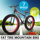 "26"" Men's Fat Tire Mountain Bike 7 Speed Black Red Frame Disk Brakes Best"