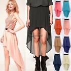 Women Sexy Lady Chiffon Pleated Retro Long Maxi Dress Elastic  Waist Skirt Belt