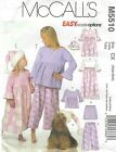 McCall's 5510 Girls' Top, Gown, Shorts, Pants Hat & Dog Hat   Sewing Pattern