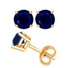 Solid 14k Yellow Gold Round Blue Sapphire 4 Prong Basket Gemstone Stud Earrings
