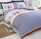 Beach Huts Checked Gingham Blue Red White Beach Duvet Cover Quilt Set