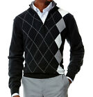 NWT Haggar Classic Fit Quarter-Zip Black Plaid Argyle Sweater Men's Size XL