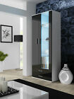 SOHO 2 Doors Modern High Gloss Fronts Glass LED Shelves Display Cabinet Drawers