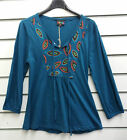 %SHOP SALE% GRINGO FAIR TRADE TEAL LONG SLEEVED COTTON TOP WITH EMBROIDERY BNWT