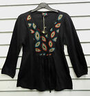 %SHOP SALE% GRINGO FAIR TRADE BLACK LONG SLEEVED COTTON TOP WITH EMBROIDERY BNWT