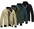 Mens Casual Jacket Military Coat Outwear Zip Stand collar Top Utility