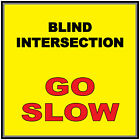 Blind Intersection Go Slow Yellow Anti-Slip Floor Sticker Decal