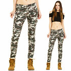 Womens Green Camouflage Low Rise Slim Skinny Stretch Combat Trousers Cargo Pants