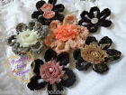 Large Hand Crochet Flower Brooch/Corsage - Safety Pin Back for Hats Scarfs Coats