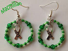 Awareness Ribbon drop hook earrings/charm – Breast Cancer, Autism, Macmillan etc