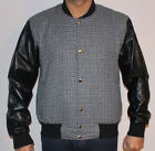 Mens Grey Tweed Casual Bomber Jacket with real leather sleeves