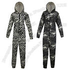 UNISEX ANIMAL PRINT HOODED FUN WINTER ONESIE ALL IN ONE SIZE 10/12 14/16 16/18