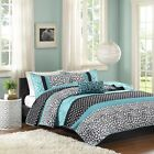 Teal Black & White Polka Dots Damask Coverlet Quilt Set A...
