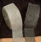 Cake Ribbon Band Silver or Black DIAMANTE MESH for Cakes Sewing etc END OF ROLL