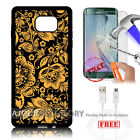 Samsung S6 Edge+ Plus 5.7' Case Cover Tempered Glass Film A4861 Vintage Damask
