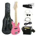 "Electric Guitar Kids 30"" Guitar With Amp   Case   Strap and More New"