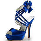 EP2031-PF Peep Toe Platform Flower Rhinestone Straps Satin Bridal Sandals Shoes