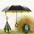 Windproof Double Layer Upside Down Reverse Inverted Peacock Umbrella  Sunscreen
