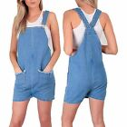 Women Ladies Romper Dungaree strap Jumpsuit Denim Pockets Trouser Playsuit Jeans