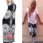 Fashion Women's Floral Casual Wide Leg Long Stretch Pants Loose Palazzo Trousers