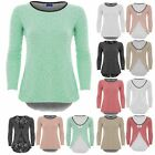 Womens Open Back Long Sleeve Bow Lace Underlay Textured Thin Casual Top