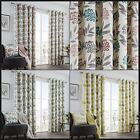 Keri Lined Eyelet Curtains Modern Berries Floral Leaves Ready Made Pair Ring Top
