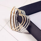 Delicate Womens Geometric Gold Toned Sparkly Frosted Heart Hoop Earrings 60mm