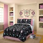 Girls Black & Pink Rainbow Skulls Bedding Comforter Set - ALL SIZES