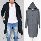 Cross-trend Mens Long Length Button Up Hooded Knit Cardigan Jacket By Guylook