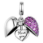 I Love You Heart Charm Bead - 925 Sterling Silver - Sister, Wife, Mum, Daughter