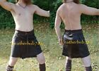 New Men's Sexy Kilt Gladiator Scottish Warrior Lambskin Black Leather Fashion 25