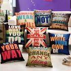 Letter Printed Home Office Decor Cotton Pillow Case Square Throw Cushion Cover